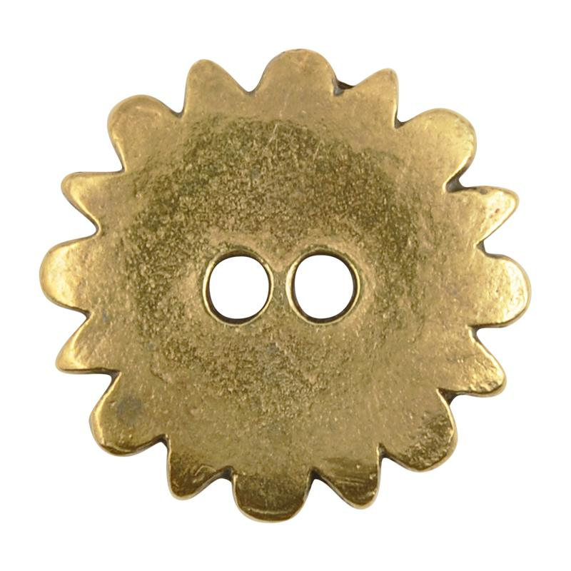 Button-20mm Native Flower Casting-Antique Bronze-Quantity 1