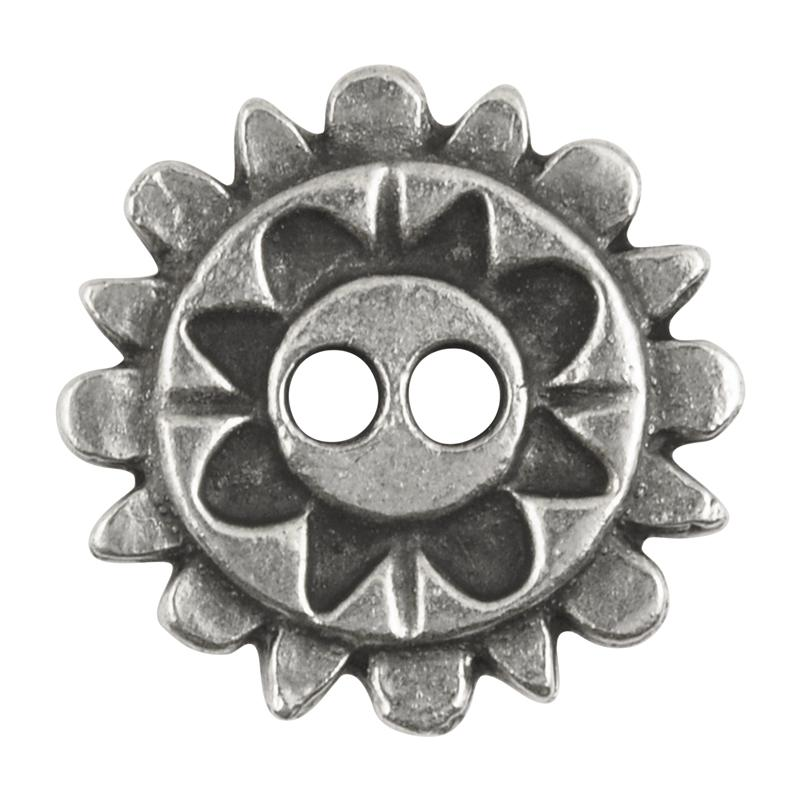 Button-20mm Native Flower Casting-Antique Silver-Quantity 1
