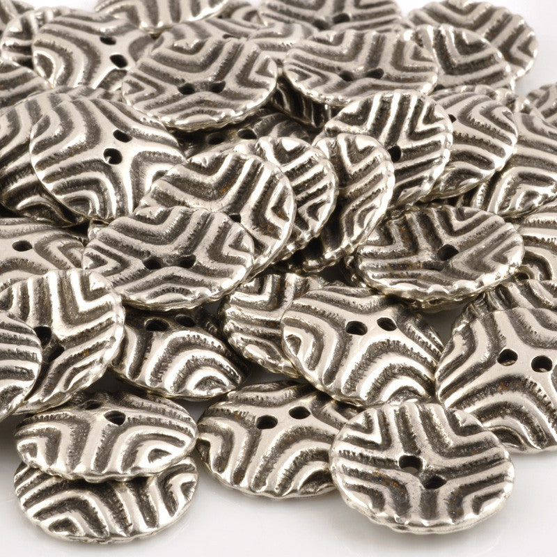 Button-20mm Tribal Casting-Antique Silver