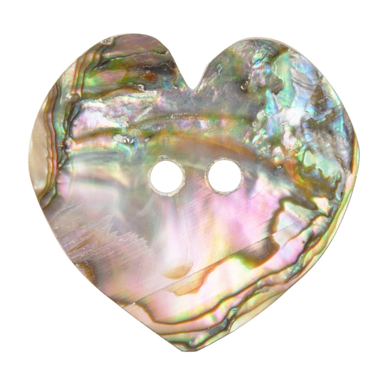 Button-25mm Iridescent Abalone Shell-Heart-Quantity 1