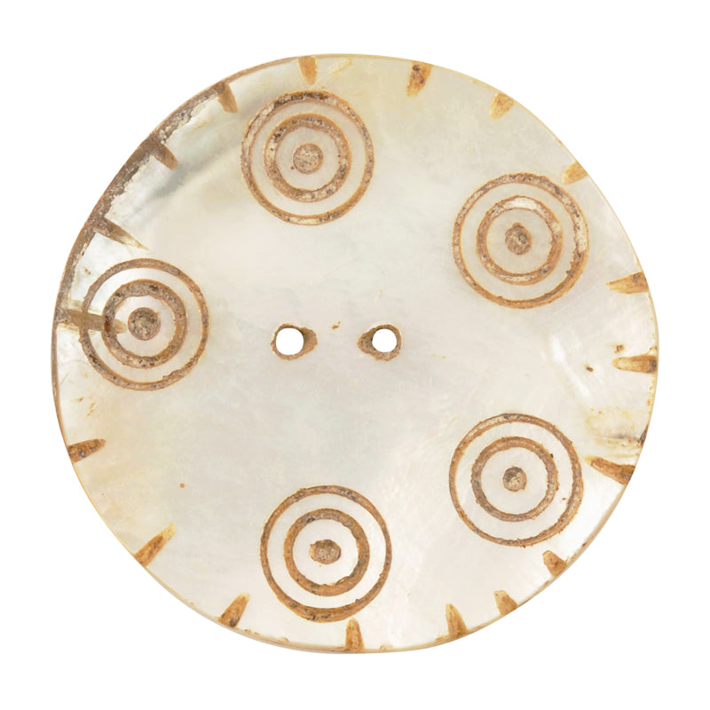Button-40mm Mother of Pearl Shell-Vintage-No. 3-Quantity 1