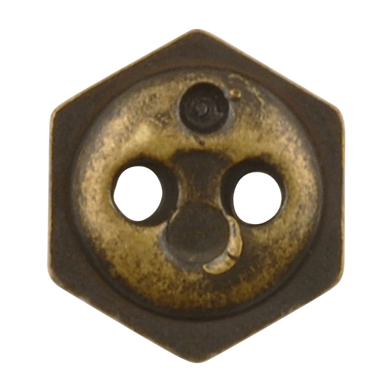 Button-9mm-Hexagon Cut-Two Hole-Antique Brass-Quantity 2