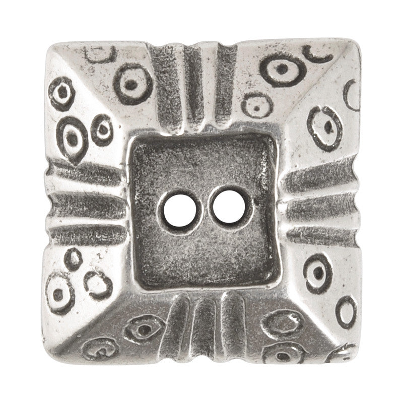 Buttons-20mm Square Pyramid-Casting-Antique Silver