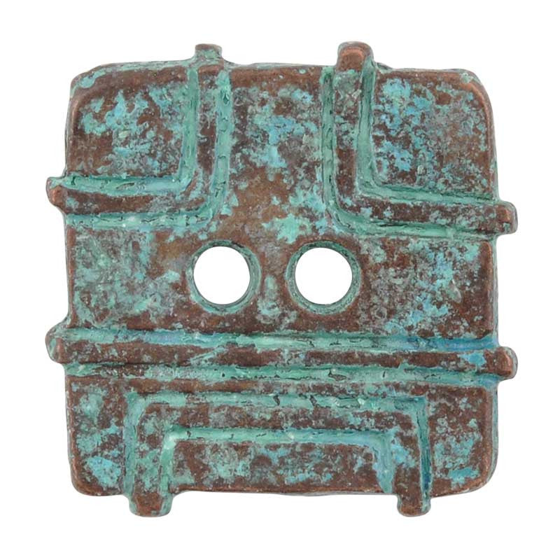 Buttons-21mm Square Casting-Green Patina
