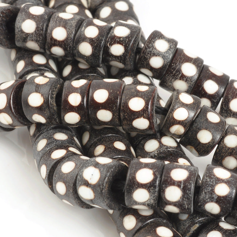 Carved-10mm Tube Bead-Brown With White Dots-Quantity 6