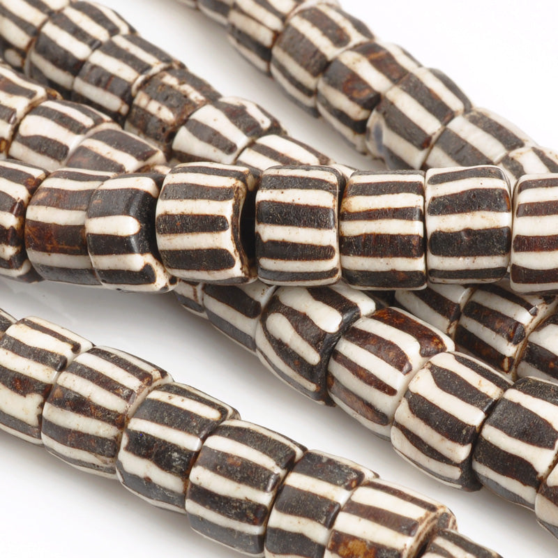 Carved-10mm Tube Bead-Brown With White Lines-Quantity 6