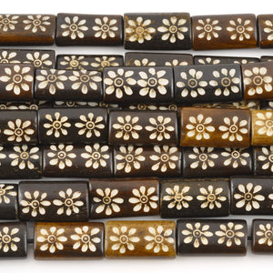 Carved-10x20mm Rectangle Bead-Two Flower-Brown