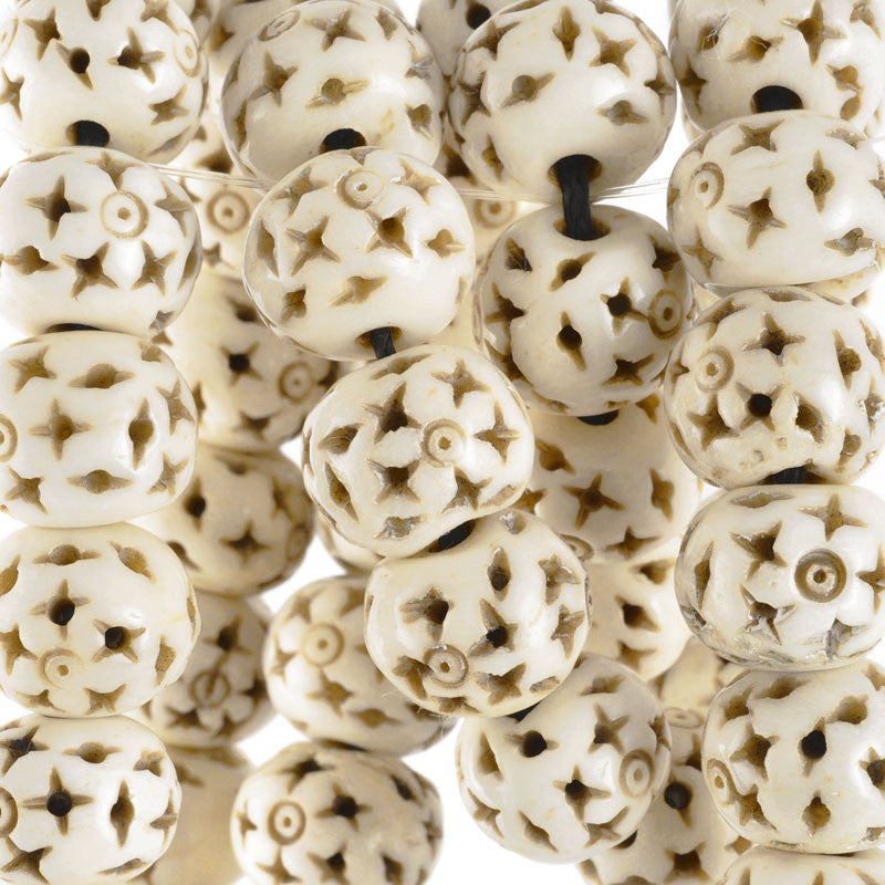 Carved-12mm Rondelle Bead With Star Design-Off White