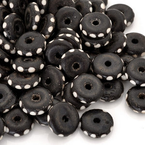 Carved-12-14mm Rondelle Bead-Brown With White Dots-2mm Large Hole