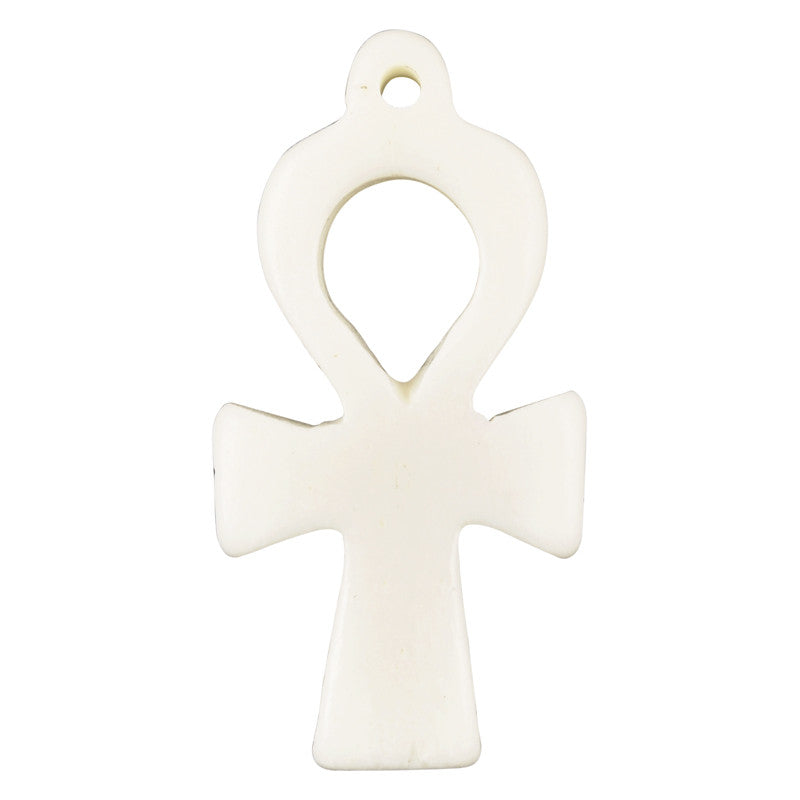 Carved-17x37mm Egyptian Cross Pendant-Off White