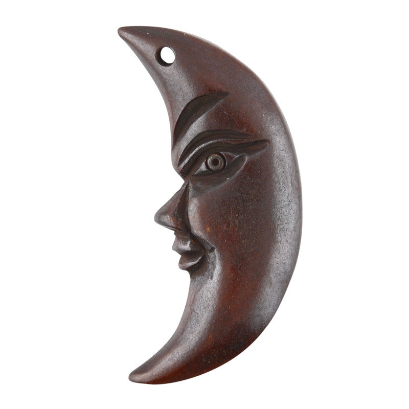Carved-18x30mm Half Moon Face-Bone-Dark Brown
