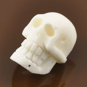 Carved-20x13mm Skull Bead-Off White