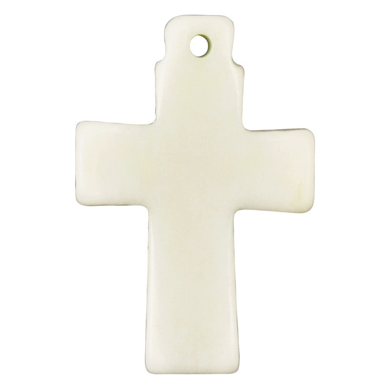 Carved-20x30mm Cross Pendant-Off White