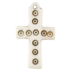 Carved-20x33mm Antiqued Cross Pendant-Off White