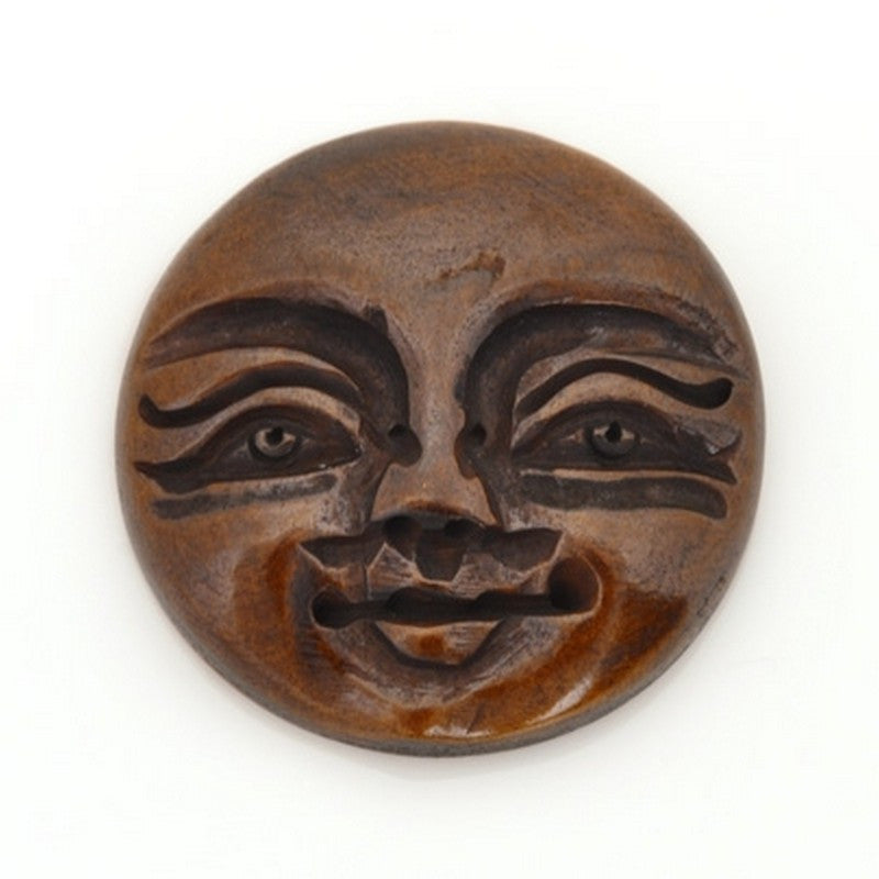 Carved-25mm Round Face Cabochon/Pendant-Bone-Brown-Quantity 1