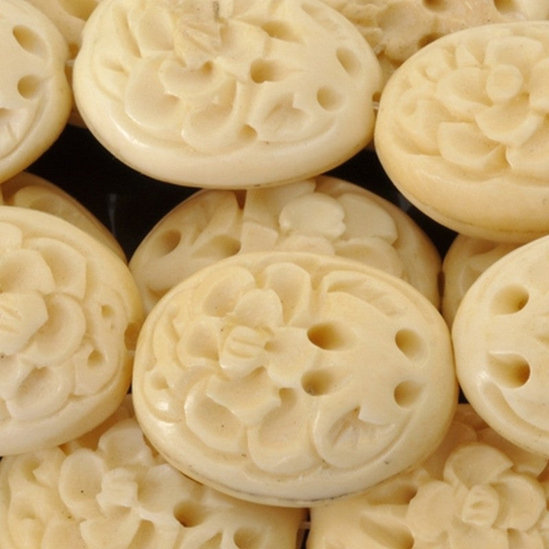 Carved-25x20mm Rose Focal Bead-Off White-9.25 Inch Strand