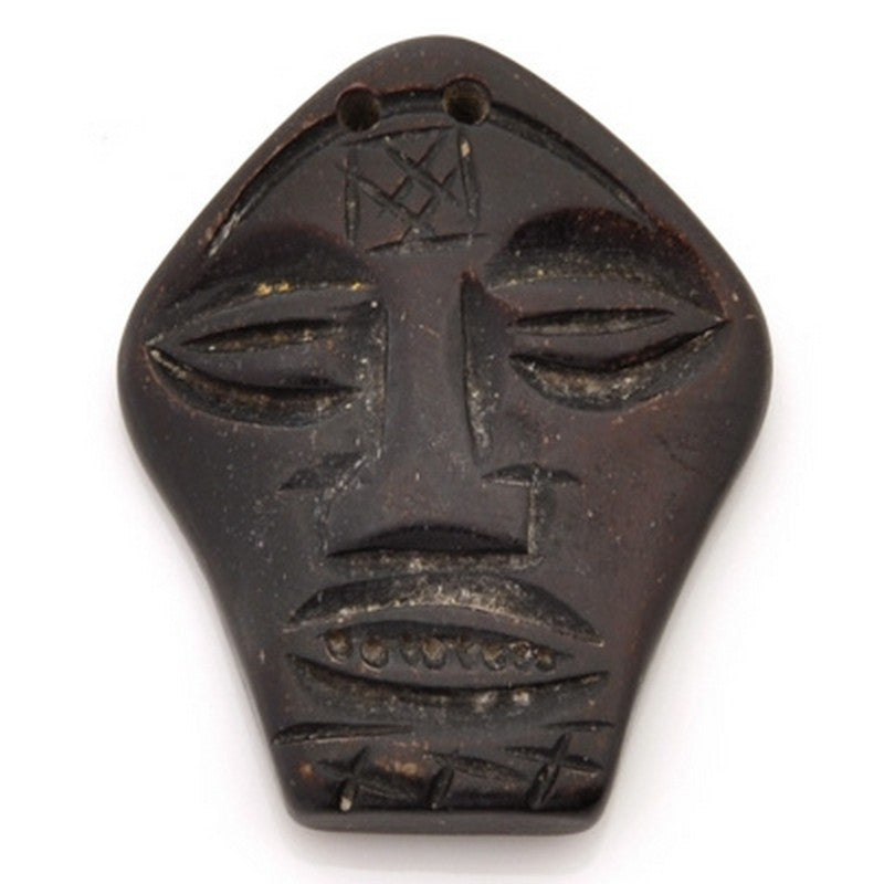 Carved-25x32mm Face Mask Pendant-Dark Brown-Quantity 1