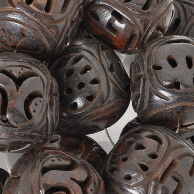 Carved-27mm Round-Four Sided Bead-Dark Brown-Quantity 1