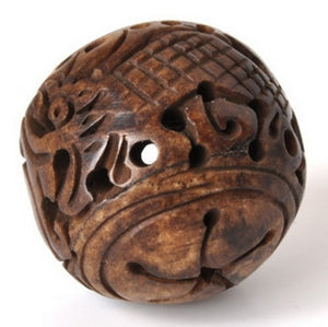 Carved-28mm Dragon Focal Bead-Brown-Quantity 1