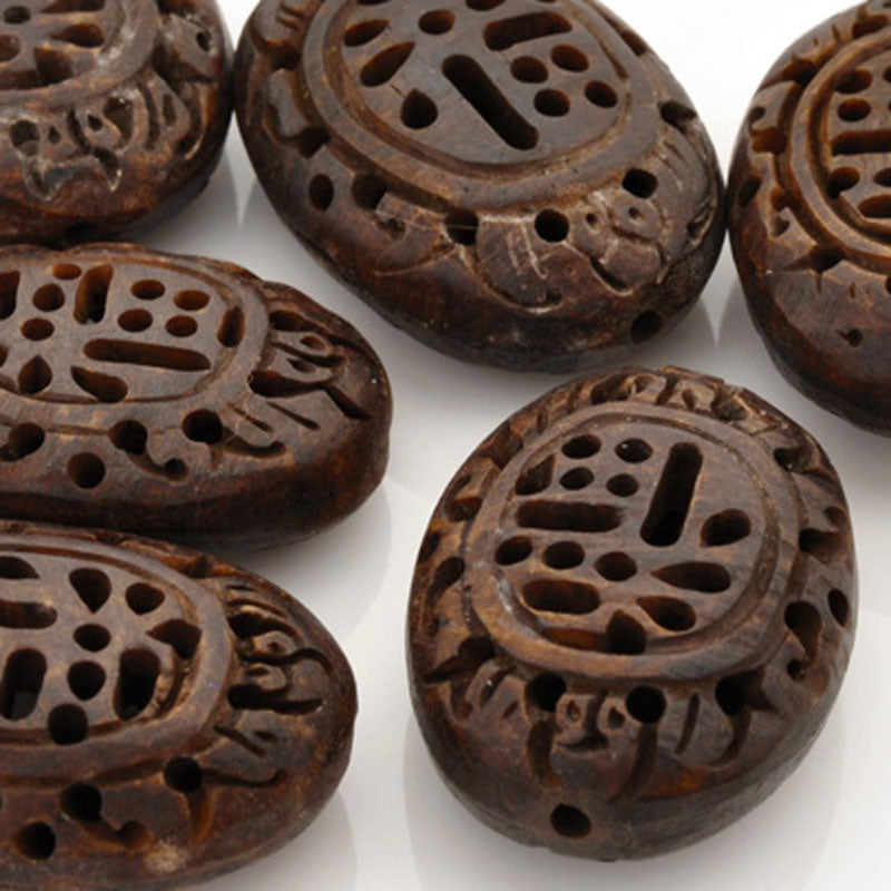 Carved-28mm Flat Round Focal Bead-Brown