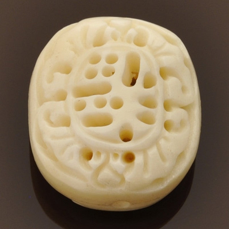 Carved-28mm Flat Round Focal Bead-Off White-Quantity 1