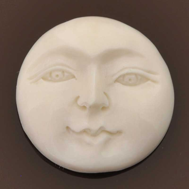 Carved-28mm Round Face-Open Eyes-White