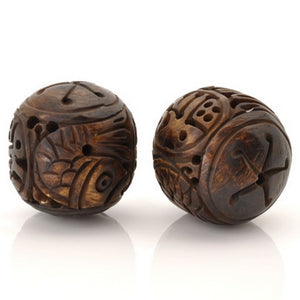 Carved-28mm Round Fish Bead-Quantity 1
