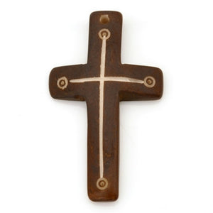 Carved-30x50mm Dark Tone Cross Pendant-Brown Umber-Quantity 1