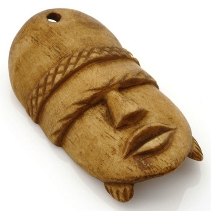 Carved-30x58mm Face Mask Pendant-Light Brown-Quantity 1