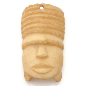 Carved-30x58mm Face Mask Pendant-Off White-Quantity 1