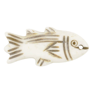 Carved - 32x15mm Fish Pendant - Off White - Tamara Scott Designs