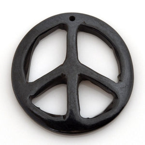 Carved-34mm Peace Pendant-Black-Quantity 1