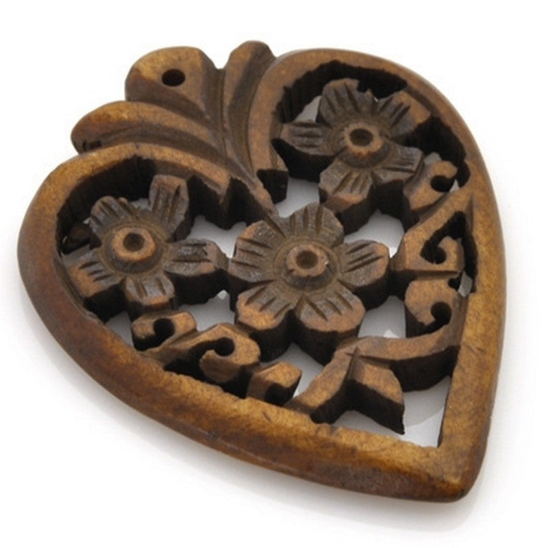 Carved-34x40mm Heart Pendant With Flowers-Brown-Quantity 1