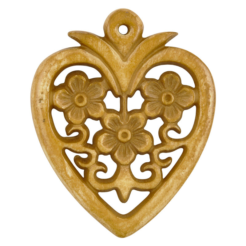Carved-34x40mm Heart Pendant With Flowers-Light Brown-Quantity 1