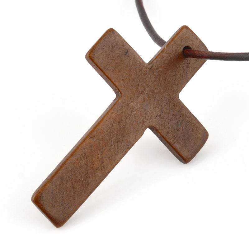 Carved-48x30mm Cross-Dark Brown-Quantity 1