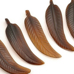 Carved-54x15mm Feather Pendant-Brown