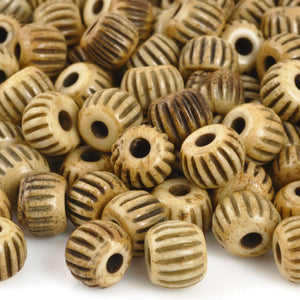 Carved-8x10mm Ridged Rondelle Bead-Bone