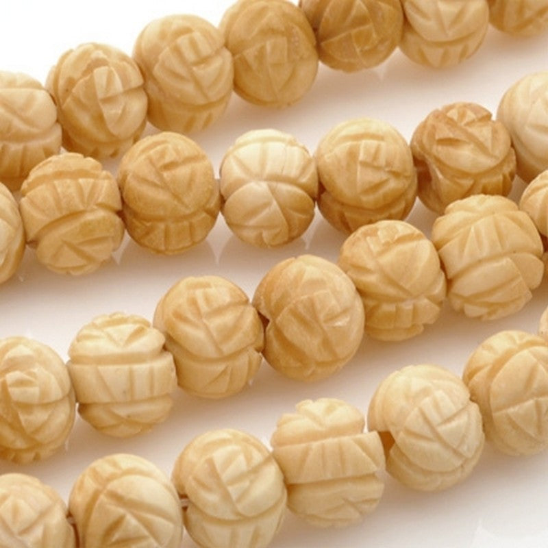 Carved-8x10mm Rondelle Bead-Rose Design-Off White-6 Inch Strand