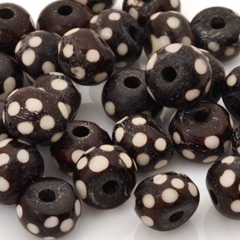 Carved-8x12mm Batik Rondelle Bead With Dots-Dark Brown-Quantity 12