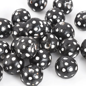 Carved Beads-12mm Terra Cotta Black and White Eye