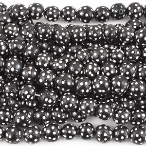 Carved Beads-12mm Terra Cotta Black and White Eye-Quantity 1