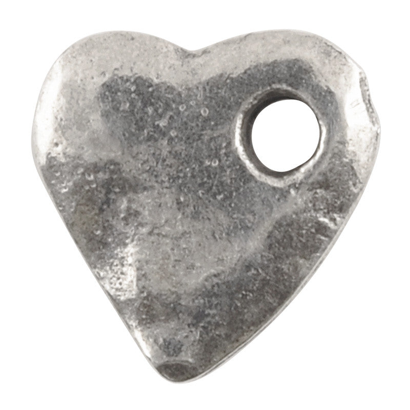 Casting-10x11mm Hammered Heart-Antique Silver