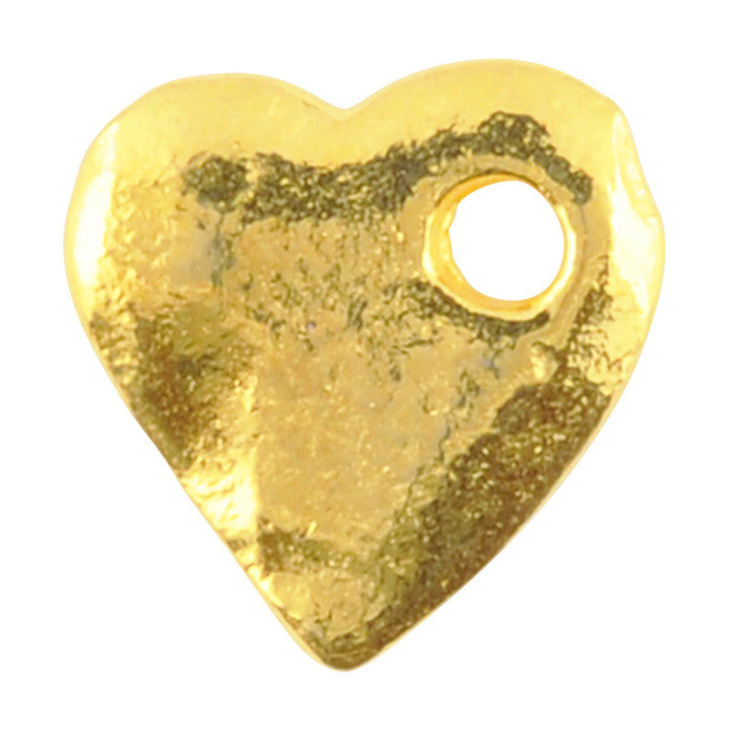 Casting-10x11mm Hammered Heart-Gold