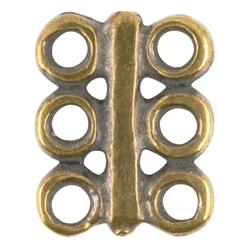 Casting-10x12mm Bar Connector-6 Hole-Antique Bronze