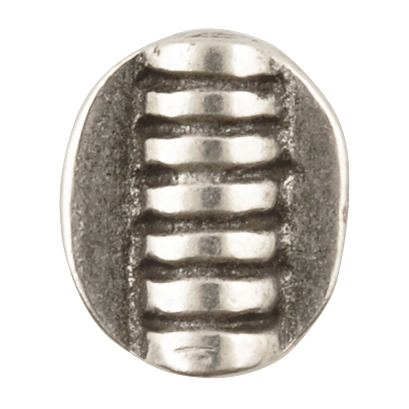 Casting-10x12mm Flat Round Oval Tube With Grooves-Antique Silver-Quantity 1
