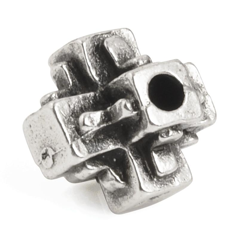 Casting Bead-11mm Square Cross-Antique Silver-Quantity 1