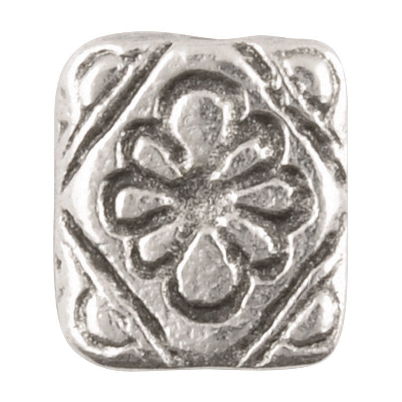 Casting-11x10mm Flat Rectangle Flower-Antique Silver