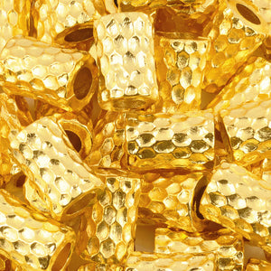 Casting-11x16mm Large Chunky Barrel Faceted Bead-Gold