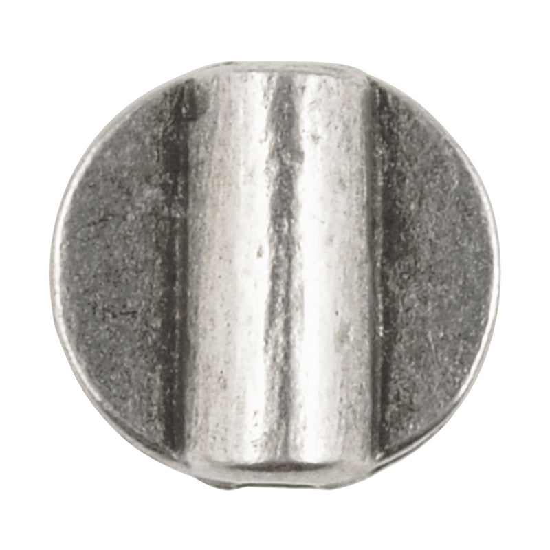 Casting-12mm Flat Round Tube-Antique Silver-Quantity 1