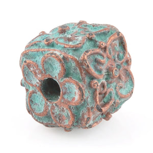 Casting-13mm Ornamental Cube-Green Patina